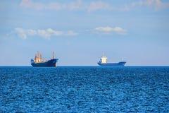 Cargo Ships on Roadstead Stock Photos