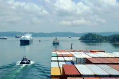 Ships during transit through the Panama Canal. royalty free stock photos