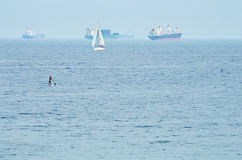 Cargo ships in the sea Stock Photo
