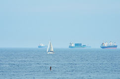 Cargo ships in the sea Royalty Free Stock Photography