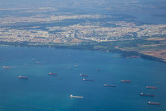 Cargo ships on the sea in Singapore.  Royalty Free Stock Photos