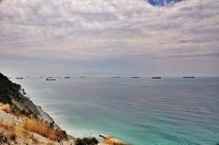 Cargo ships at sea Stock Photos