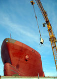 Cargo in shipyard!. Big red cargo boat in shipyard Royalty Free Stock Photography