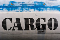 Cargo sign. On an airplane royalty free stock photo