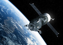 Cargo Spacecraft Orbiting Earth. 3D Scene. Cargo Spacecraft Orbiting Earth. Realistic 3D Scene Stock Photos