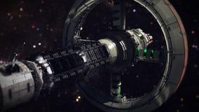 Cargo Spaceship going through the space 3d animation