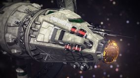 Cargo Spaceship going through the space 3d illustration Royalty Free Stock Image