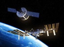 Cargo Spaceship Is Preparing To Dock With International Space Station. 3D Illustration Stock Images