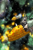 Cargo spaceships and nebula. 3D render science fiction illustration Royalty Free Stock Images