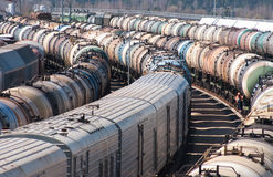 Cargo station on the railroad Stock Photos