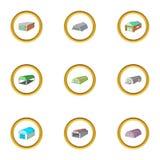 Cargo storage icons set, cartoon style Royalty Free Stock Images