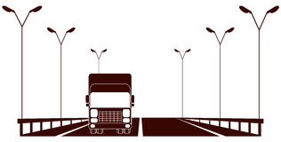 Cargo symbol with highway and lorry Stock Photo