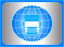 Cargo symbol with truck and planet Stock Photography