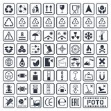 Cargo symbols set, packaging icons Royalty Free Stock Image