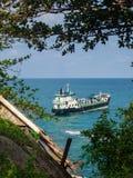 Cargo tanker at the beach Haad Than Sadet Koh Phangan. Thailand stock photo