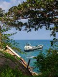 Cargo tanker at the beach Haad Than Sadet Koh Phangan stock photography