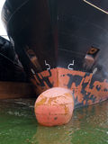 Cargo tanker boat moored in a port Stock Photos