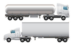 Cargo and tanker truck. Detailed illustration of cargo and tanker truck,isolated on white background Royalty Free Stock Images