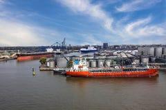 Cargo tanker vessel in sea port Rotterdam, Netherlands. Royalty Free Stock Photo