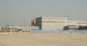 Cargo terminal in airport - Lufthansa cargo terminal stock video footage