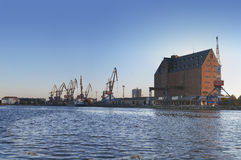Cargo terminal with cranes Stock Image