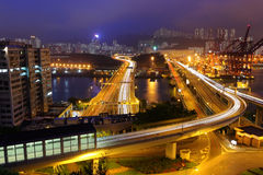 Cargo Terminal and highway. At night stock photos