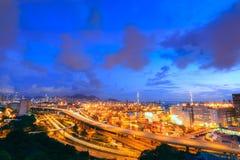 Cargo Terminal and highways. At sunset Royalty Free Stock Photos