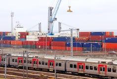 Cargo terminal of Lisbon port in Santa Apolonia Stock Images