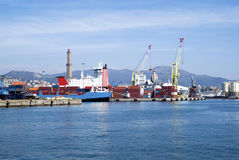 Cargo terminal in the Port of Genoa Stock Photo