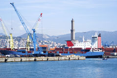 Cargo terminal in the Port of Genoa Stock Images
