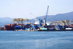 Cargo terminal in the Port of Genoa Stock Photography