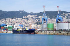 Cargo terminal in the Port of Genoa Royalty Free Stock Images