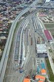 Cargo terminal. Russia, Krasnodar krai, Soch. View from above of a rail freight terminal №2 Royalty Free Stock Photography