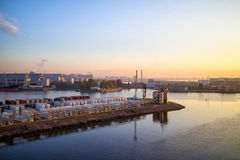 Cargo Terminal seaport in the evening Stock Photos