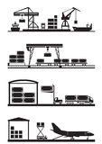 Cargo terminals icon set Royalty Free Stock Image