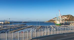 Cargo terminals in Tanger-Med, Morocco. TANGER, MOROCCO - MARCH 26, 2014: Cargo terminals in Tanger-Med Port, Morocco Stock Images
