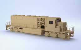 Cargo train. With box texture (3d render Royalty Free Stock Images