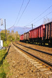 Cargo train. A cargo train moving to the distance royalty free stock photo