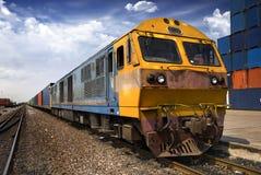 Cargo train. A Train Carry Cargo On An Old Railway Track stock photos