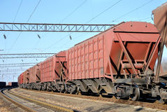 The cargo train with cars Royalty Free Stock Photography