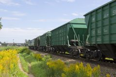 Cargo train from cars. royalty free stock image