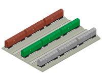 Cargo train cars 3D Royalty Free Stock Photo