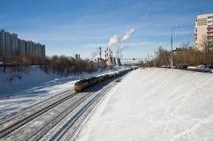 Cargo train in city Stock Photo