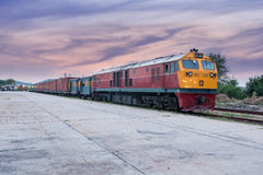 Cargo train and container at twilight Stock Photography