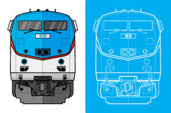 Cargo train front view. Front view of a cargo train blueprint style Stock Photography