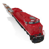Cargo train with heavy duty flat cars on white. 3D illustration Stock Photos