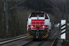 Cargo train locomotive in the evening royalty free stock images