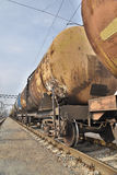 Cargo train with oil Royalty Free Stock Image