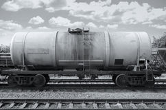 Cargo train with oil tanker Stock Photos