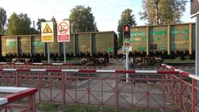 A cargo train passes near pedestrian rail crossing. Sharya, Northern railway. SHARYA, RUSSIA - AUGUST 29, 2017: A cargo train passes near pedestrian rail stock video footage